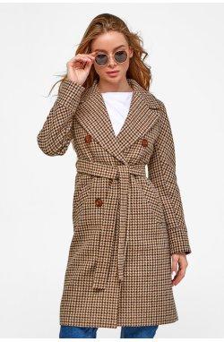 Пальто женское Келли лапка коричневая - Весна-Осень