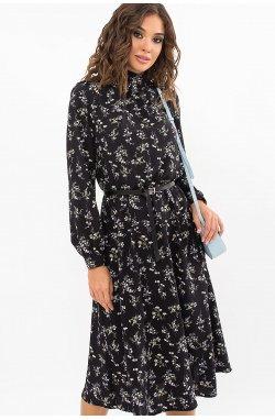 Платье Азами д/р - GLEM, черный-полевые цветы