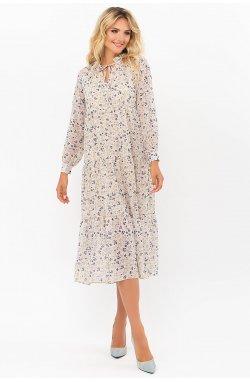 Платье Мариэтта д/р - GLEM, молоко-разноцв.цветы