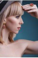 Бижутерия комплект серьги-гвоздики и кольцо
