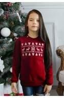 Свитер с оленями для девочки - Свитшот Рождественский детский - Бордовый