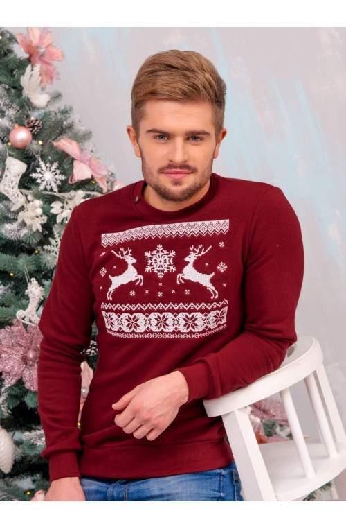 Светр з оленями чоловічий - Світшот Різдвяний - Бордовий