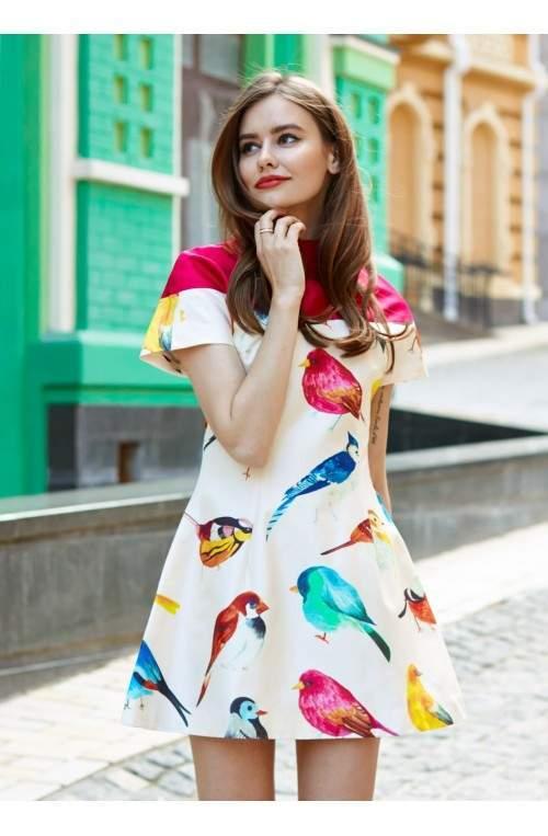 Шелковое платье с принтом в виде птиц