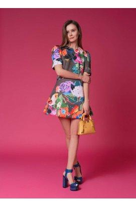 Платье А-силуэта с цветочным принтом